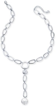 "Alfani Disc & Imitation Pearl Link Lariat Necklace, 25-1/2"" + 2"" extender, Created for Macy's"