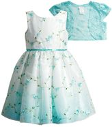 Dollie & Me Girls 4-6x Sleeveless Floral Dress with Crochet Cardigan