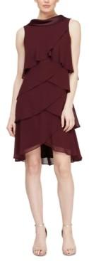 SL Fashions Tiered Chiffon Shift Dress