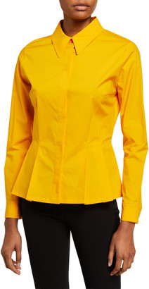 Escada Nadasha Button-Front Peplum Shirt