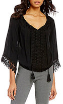 Takara Crochet Trim Long Bell-Sleeve Tie-Front Peasant Top