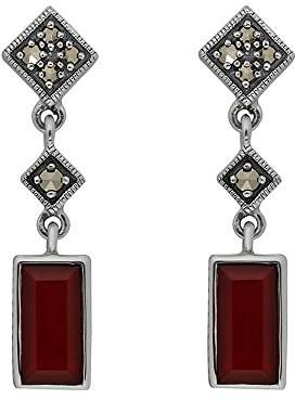 Esse Marcasite Sterling Silver Ladies Marcasite and Dyed Carnelian Drop Earrings