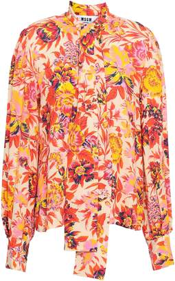 MSGM Pussy-bow Floral-print Stretch-crepe Blouse