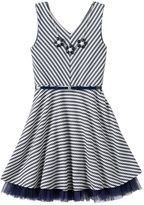Knitworks Girls 7-16 Cross-Back Striped Sleeveless Skater Dress