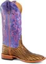 Purple & Pink Embroidered Leather Cowboy Boot