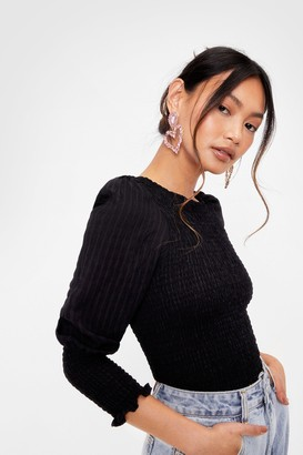 Nasty Gal Womens Petite Shirred Puff Sleeve Blouse - Black