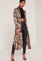 Missguided Leopard Print Silky Duster Coat