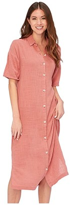 XCVI Gael Shirtdress in Cocoon Gauze (Atoll Pigment) Women's Dress