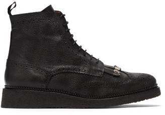 Toga Virilis Fringed Embossed-leather Boots - Mens - Black