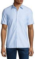 Burberry Short-Sleeve Oxford Shirt, Blue Pattern