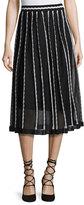 M Missoni Triangle-Striped A-Line Midi Skirt, Black Pattern