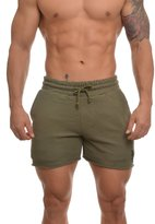 Youngla Men's Bodybuilding Shorts French Terry Solid Gym Running Workout Shorts