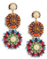 Erickson Beamon Safari Faux Pearl & Crystal Flower Drop Earrings