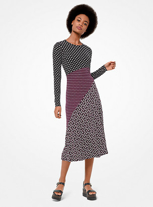 MICHAEL Michael Kors Mixed Print Matte-Jersey Dress