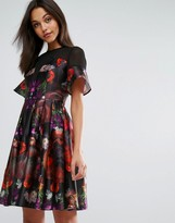 Skeena S Midi Prom Dress in Heavy Satin in Dark Floral