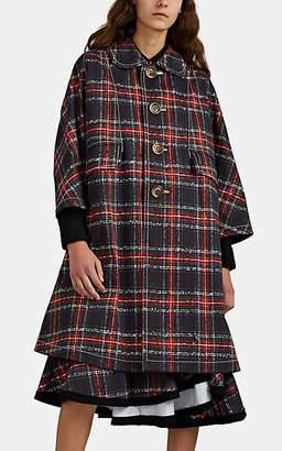 Comme des Garcons Women's Plaid Cotton A-Line Coat - Black