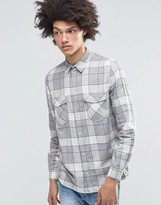Weekday West Check Flannel Shirt Gray
