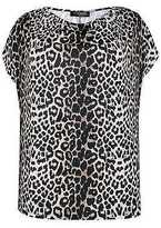 Yours Clothing YoursClothing Plus Size Womens Ladies Tee Top Shirt Animal Print Top Cowl Neck