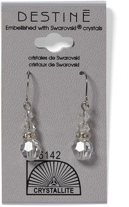 Crystallite 931 Clear Round Rondelle Dangle Earrings