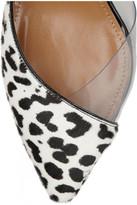 Aquazzura Coco patent-leather and calf hair slingbacks