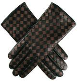 Black and Taupe Woven Leather Gloves - Cashmere Lined