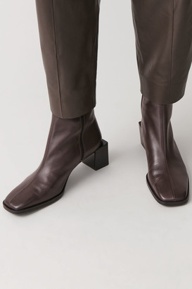 Cos Square Toe Leather Ankle Boots