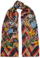 Gucci Printed Silk-chiffon Scarf - Navy