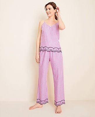 Ann Taylor Gingham Eyelet Pajama Set
