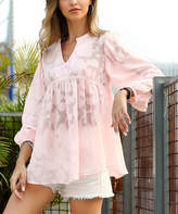 Reborn Collection Women's Tunics Light - Light Pink Floral Sheer Peasant Top - Women