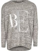 River Island Girls grey slouch top