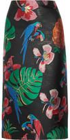 Valentino Floral-jacquard Midi Skirt - Black