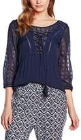2two Women's 3/4 Sleeve Top - Blue -