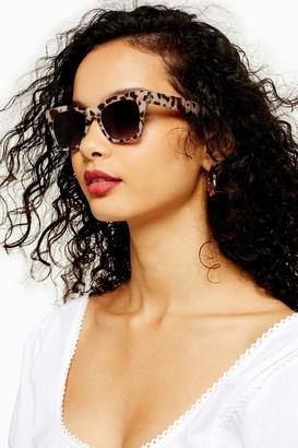 Topshop Womens Phoebe Milky Tortoiseshell Square Sunglasses - Tortoise She