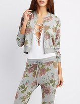 Charlotte Russe Floral Cropped Bomber Sweatshirt