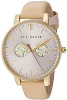 Ted Baker Women's 'Sport' Quartz Stainless Steel and Leather Dress Watch, Color:Beige (Model: 10030750)