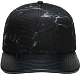 Gents Men's Tim Faux Leather Snapback Cap - Black