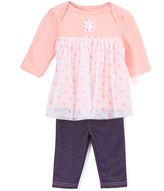 Bon Bebe Peach & White Polka Dot Tulle Babydoll Dress & Jeggings