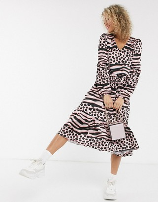 Liquorish smock maxi dress with drop hem in contrast animal print