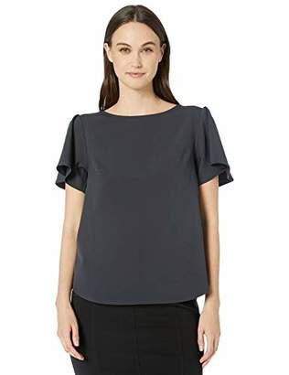 Lark & Ro Stretch Twill Short Sleeve Flutter Top Shirt,XXL