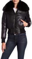Alice + Olivia Rowan Cropped Genuine Fox Fur Collar Jacket