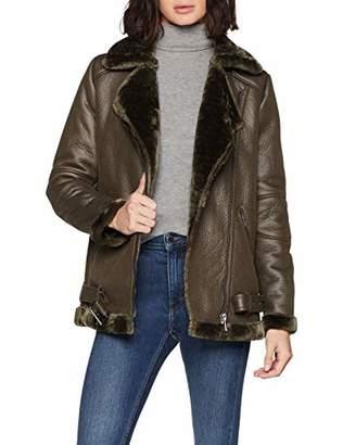 Only Women's Onlnew Dia Faux Leather Bonded Biker OTW Denim Jacket, Grey Peat, (Size: 40)