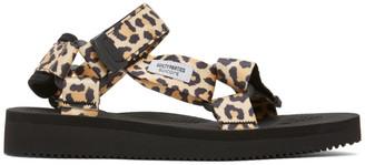 Wacko Maria Beige and Black Suicoke Edition Leopard Beach Sandals