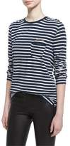 Zadig & Voltaire Long-Sleeve Striped Jersey Tee, Blanc/Mar