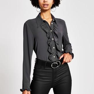 River Island Womens Dark Grey long sleeve frill shirt
