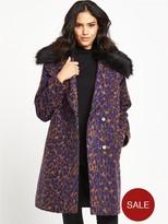 Lost Ink Leopard Jacquard Faux Fur Collar Coat - Brown