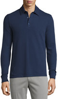 Loro Piana Comfort Piqué; Long-Sleeve Polo Shirt, Blue Avio