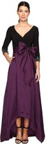 Adrianna Papell Two-Tone Embellished Sleeve Taffeta Gown