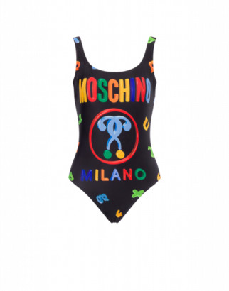 Moschino Magnets One-piece Swimsuit Woman Black Size 38 It - (2 Us)