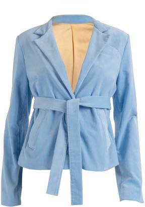 Relax Baby Be Cool Ribbed Corduroy Blazer With Pockets - Baby Blue