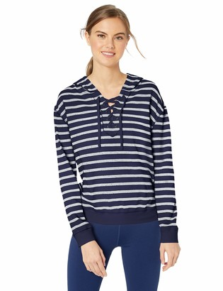 Andrew Marc Women's Stripe French Terry Long Sleeve Pullover
